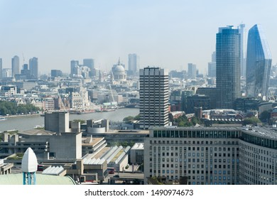 London, England, August 27th 2019: Beautiful aerial view of the city of London against blue sky