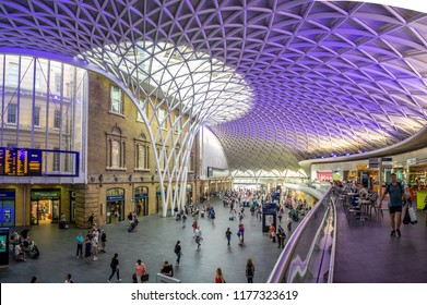 London, England - August 4, 2018: Interior of the Kings Cross Train Station in London. Kings Cross is one of London's most famous stations in part because of the Harry Potter movies.