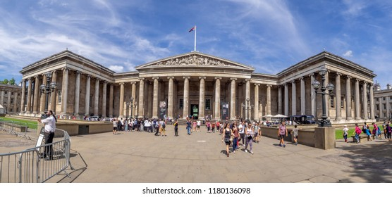London, England - August 4, 2018: Panorama of the exterior facade of the British Museum on a warm summer day.  The British Museum is one of the best museums in the world.