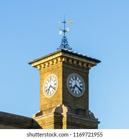 LONDON, ENGLAND - AUGUST 5:  The clock tower above Kings Cross railway station in London, England is pictured on August 5, 2017.