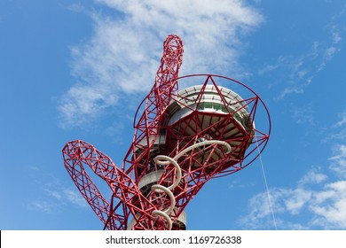 LONDON, ENGLAND - AUGUST 5:  A close up image of the ArcelorMittal Orbit in the Queen Elizabeth Olympic Park, London, England.  The landmark, England's tallest sculpture is pictured on August 5, 2017.