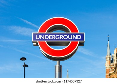 LONDON, ENGLAND - AUGUST 6:  A sign for London Underground at Kings Cross station in London, England is pictured on August 6, 2017.