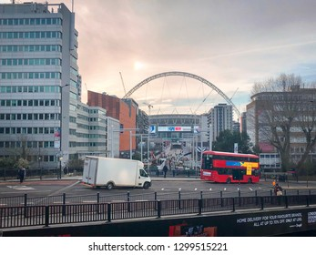 London, England - Circa January 2019 :  View of Wembley Stadium from underground train station at winter morning