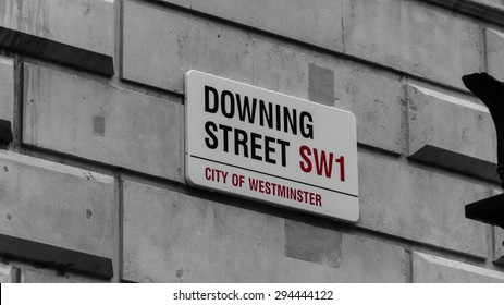LONDON, ENGLAND Circa October 2012: street sign of downing street