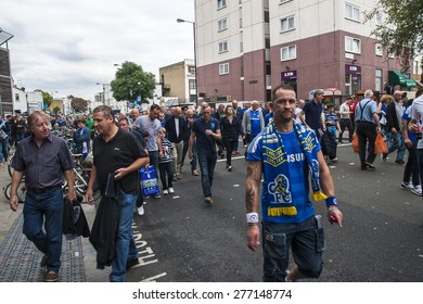 LONDON, ENGLAND - CIRCA SEPTEMBER 2014: Chelsea fans after the match circa September 2014 in London.