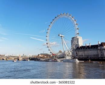 LONDON, ENGLAND - Dec. 17, 2012: London Eye on the River Thames.