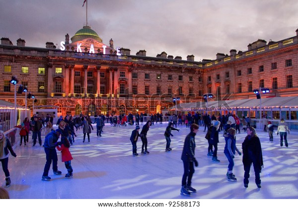 LONDON, ENGLAND - DEC 26: Beautiful Somerset house ice rink on December 26, 2011 in London, England.  Skate at Somerset House presented by Tiffany & Co. is opened until January 22 2012.