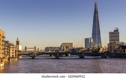 London / England - December 02 2016: London cityscape with river Thames and the Shard