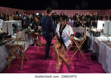 LONDON, ENGLAND - DECEMBER 02: Atmosphere backstage with Imaan Hammam at the annual Victoria's Secret fashion show at Earls Court on December 2, 2014 in London, England.