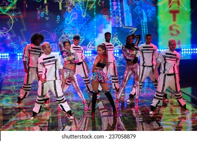 LONDON, ENGLAND - DECEMBER 02: Singer Ariana Grande performs at the annual Victoria's Secret fashion show on December 2, 2014 in London, England.
