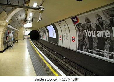 "LONDON, ENGLAND - DECEMBER 11, 2015:  The London Underground, or ""Tube"" at Knightsbridge station."