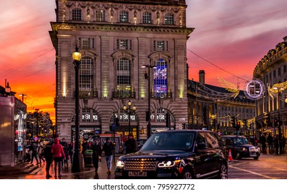London, England.  December 11, 2017. Piccadilly Circus during sunset.