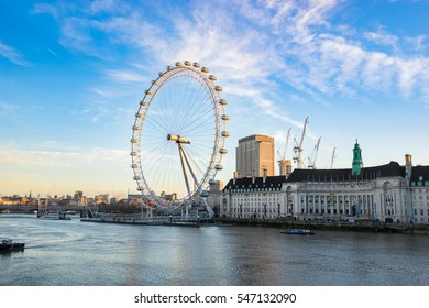 LONDON, ENGLAND - DECEMBER 12, 2016. The London Eye at sunrise