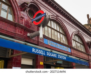 London, England, December 12th 2020: Russell Square underground tube station. Main entrance facade, signs and logo.
