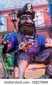 London, England - December 17, 2015 -  Winter Wonderland amusement park pirate figure  in London, England.