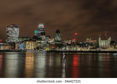 London, England - December 2, 2015: City of London skyline at night