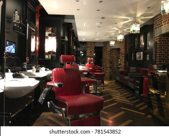 London, England - December 2017: Interior of a typical London barbershop after having finished its workday. Everything ordered and with a retro design.Located in the neighborhood of Covent Garden