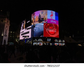 London, England - December 2017: Night in Piccadilly Circus square in the center of London, meeting place and surrounded by the main shopping streets.