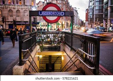 LONDON, ENGLAND - DECEMBER 25, 2016: Entrance to Knightsbridge subway station.