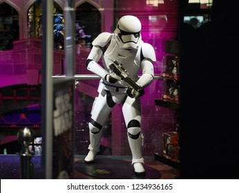 London, England - December 26th 2015: Star Wars Stormtrooper Mannequin in store window as promotion