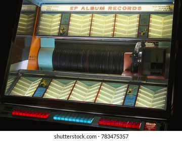 London, England - December 27th 2017: Jukebox Vintage Retro Music Record Player Collection Exhibition