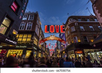 London, England. December 3, 2016. Carnaby Street Christmas lights during sunset.