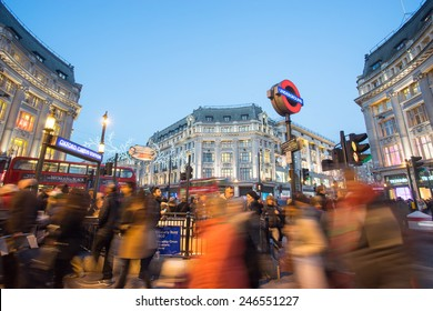 LONDON, ENGLAND, DECEMBER 30, 2014: Oxford street on sale season after Christmas. This street is a major shopping street of London.