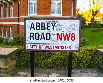 LONDON, ENGLAND - DECEMBER  7, 2003 - Abbey Road sign, famous also for the Beatles music band