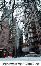 London, England - February 02, 2009: Snow covered Lloyd's of London Insurance building