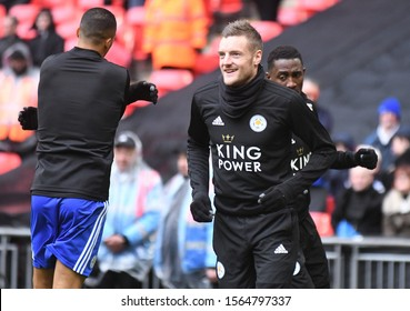 LONDON, ENGLAND - FEBRUARY 10, 2019: Jamie Vardy of Leicester pictured ahead of the 2018/19 Premier League game between Tottenham Hotspur and Leicester City at Wembley Stadium.