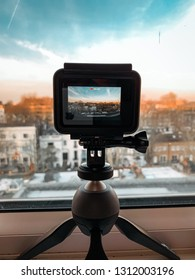 LONDON, ENGLAND - February 12, 2019 :  Picture of Gopro Hero 7 recording urban rooftop building in London, United Kingdom.