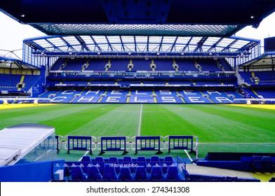 LONDON, ENGLAND - FEBRUARY 14: Stamford Bridge Stadium on February 14, 2014 in London, UK. The Stamford Bridge is home to Chelsea Football Club. Horizontal orientation.