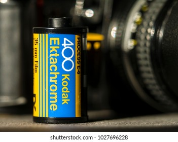 London, England - February 17, 2018: Kodak Ektachrome 35mm Transparency Film, It was first developed in the 1940's and became very popular. with professional photographers.