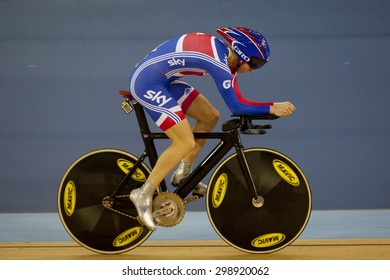 LONDON, ENGLAND. FEBRUARY 18 2012:  Joanna Roswell (GBR) in action at the UCI Track Cycling World Cup at the London Olympic Velodrome, Queen Elizabeth 2nd Park