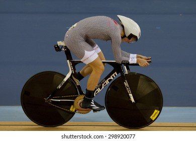 LONDON, ENGLAND. FEBRUARY 18 2012: Alison Shanks (NZL) in action at the UCI Track Cycling World Cup at the London Olympic Velodrome, Queen Elizabeth 2nd Park