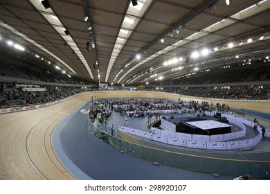 LONDON, ENGLAND. FEBRUARY 18 2012: A general view at the UCI Track Cycling World Cup at the London Olympic Velodrome, Queen Elizabeth 2nd Park