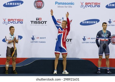 LONDON, ENGLAND. FEBRUARY 18 2012:  Sir Chris Hoy (GBR) celebrates winning the men's Keirin at the UCI Track Cycling World Cup at the London Olympic Velodrome, Queen Elizabeth 2nd Park