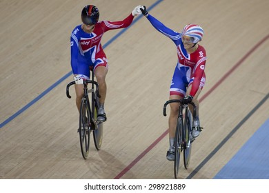 LONDON, ENGLAND. FEBRUARY 18 2012:  Victoria Pendleton (GBR) and Jess Varnish (GBR) in action during the UCI Track Cycling World Cup at the London Olympic Velodrome, Queen Elizabeth 2nd Park
