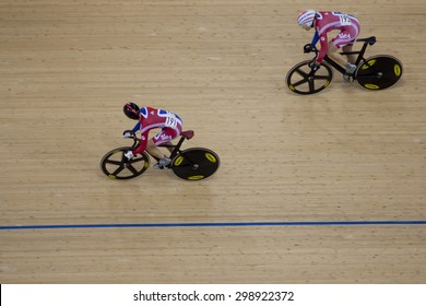 LONDON, ENGLAND. FEBRUARY 18 2012: Victoria Pendleton (GBR) and Jess Varnish (GBR) in action at the UCI Track Cycling World Cup at the London Olympic Velodrome, Queen Elizabeth 2nd Park