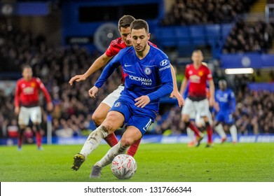 London, England - February 18 2019: Eden Hazard of Chelsea FC during the The FA Cup 5th round match between Chelsea and Manchester United at Stamford Bridge