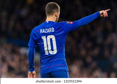 London, England - February 18 2019: Eden Hazard of Chelsea during the The FA Cup 5th round match between Chelsea and Manchester United at Stamford Bridge
