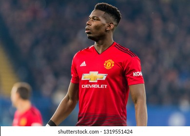 London, England - February 18 2019: Paul Pogba of Manchester United during the The FA Cup 5th round match between Chelsea and Manchester United at Stamford Bridge