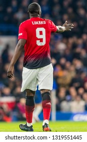 London, England - February 18 2019: Romelu Lukaku of Manchester United during the The FA Cup 5th round match between Chelsea and Manchester United at Stamford Bridge