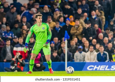London, England - February 18 2019: Kepa Arrizabalaga of Chelsea during the The FA Cup 5th round match between Chelsea and Manchester United at Stamford Bridge