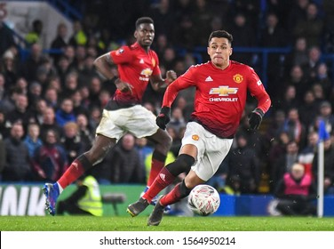 LONDON, ENGLAND - FEBRUARY 18, 2019: Alexis Sanchez of Manchester pictured during the 2018/19 FA Cup Fifth Round game between Chelsea FC and Manchester United at Stamford Bridge.