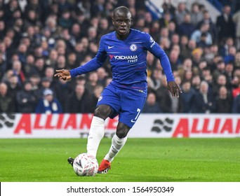 LONDON, ENGLAND - FEBRUARY 18, 2019: N'Golo Kante of Chelsea pictured during the 2018/19 FA Cup Fifth Round game between Chelsea FC and Manchester United at Stamford Bridge.
