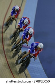 LONDON, ENGLAND. FEBRUARY 19 2012: Great Britain team compete in the team pursuit at the UCI Track Cycling World Cup at the London Olympic Velodrome, Queen Elizabeth 2nd Park