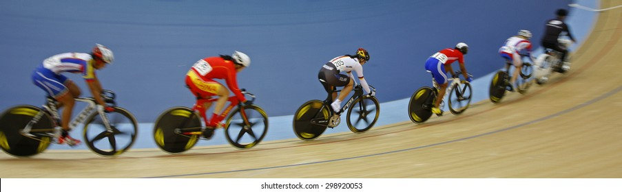LONDON, ENGLAND. FEBRUARY 19 2012:  Competitors take part in the women's keirin  at the UCI Track Cycling World Cup at the London Olympic Velodrome, Queen Elizabeth 2nd Park