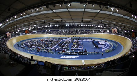 LONDON, ENGLAND. FEBRUARY 19 2012:  A general view of the Veledrome at the UCI Track Cycling World Cup at the London Olympic Velodrome, Queen Elizabeth 2nd Park