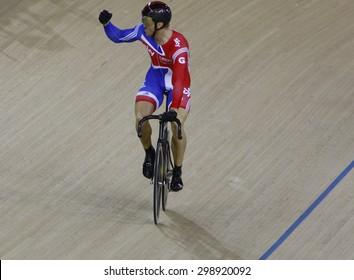 LONDON, ENGLAND. FEBRUARY 19 2012: Sir Chris Hoy (GBR) during the final of the mens sprint, at the UCI Track Cycling World Cup at the London Olympic Velodrome, Queen Elizabeth 2nd Park